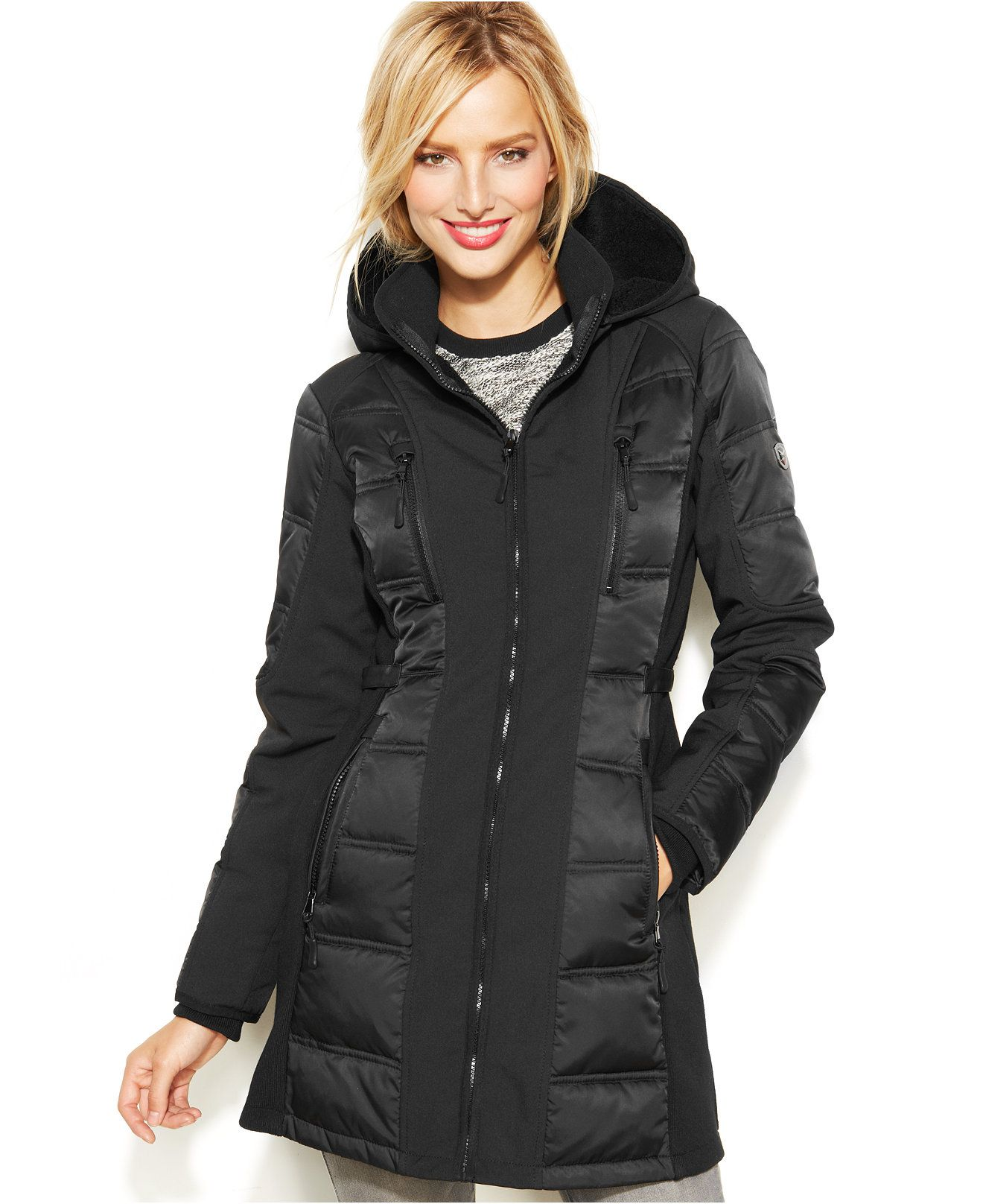 1 Madison Expedition Hooded Scuba Panel Puffer Coat Coats Women Macy S Puffer Coat Coat Coats For Women [ 1616 x 1320 Pixel ]