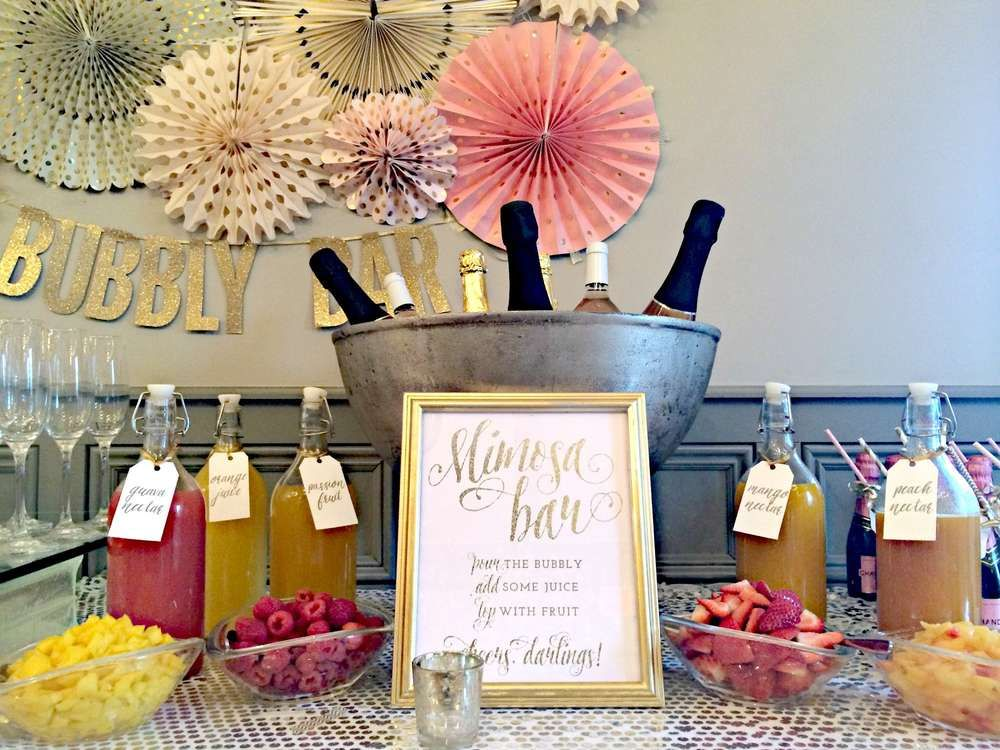 Bubbly Bar Blush Pink Gold Bridal Wedding Shower Party Ideas Photo 2 Of 39 Bubbly Bar Bridal Shower Wedding Shower Mimosa Bar Bridal Shower Brunch