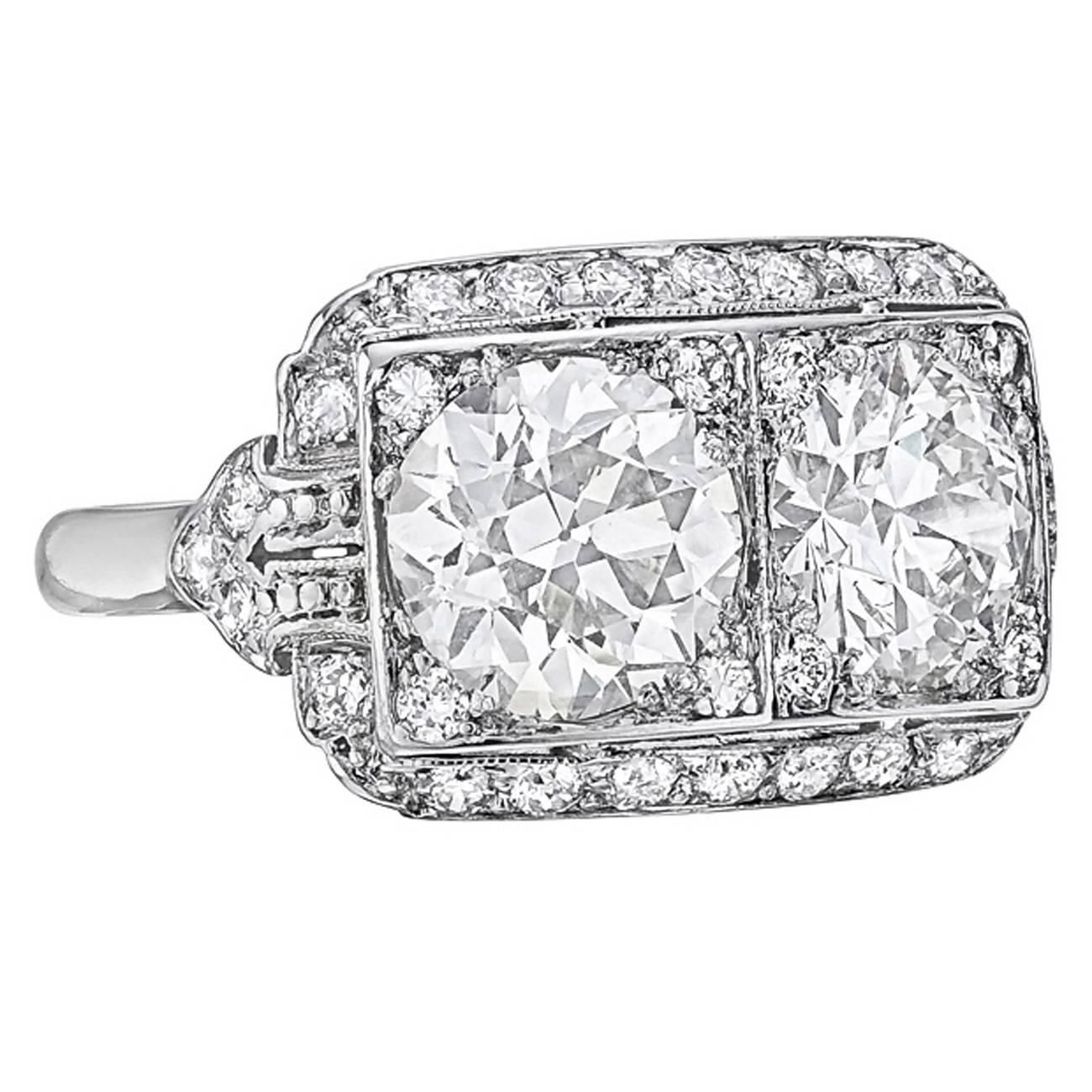 Art Deco Twin Diamond Dress Ring Diamond Dress Ring Antique Engagement Rings Vintage Inspired Rings