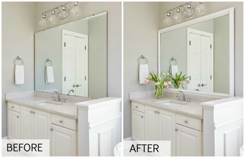 MirrorMate frame added to the plate glass wall mirror - what a ...