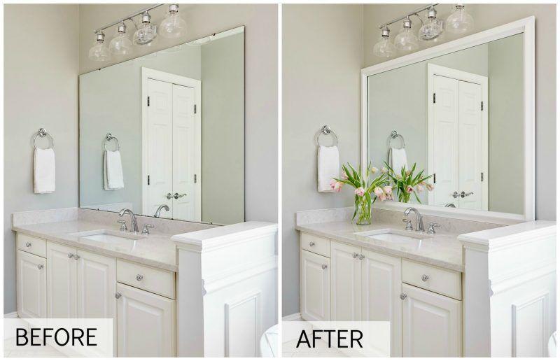 Vanity Mirror Makeover Mirror Makeover Bathroom Mirror Frame