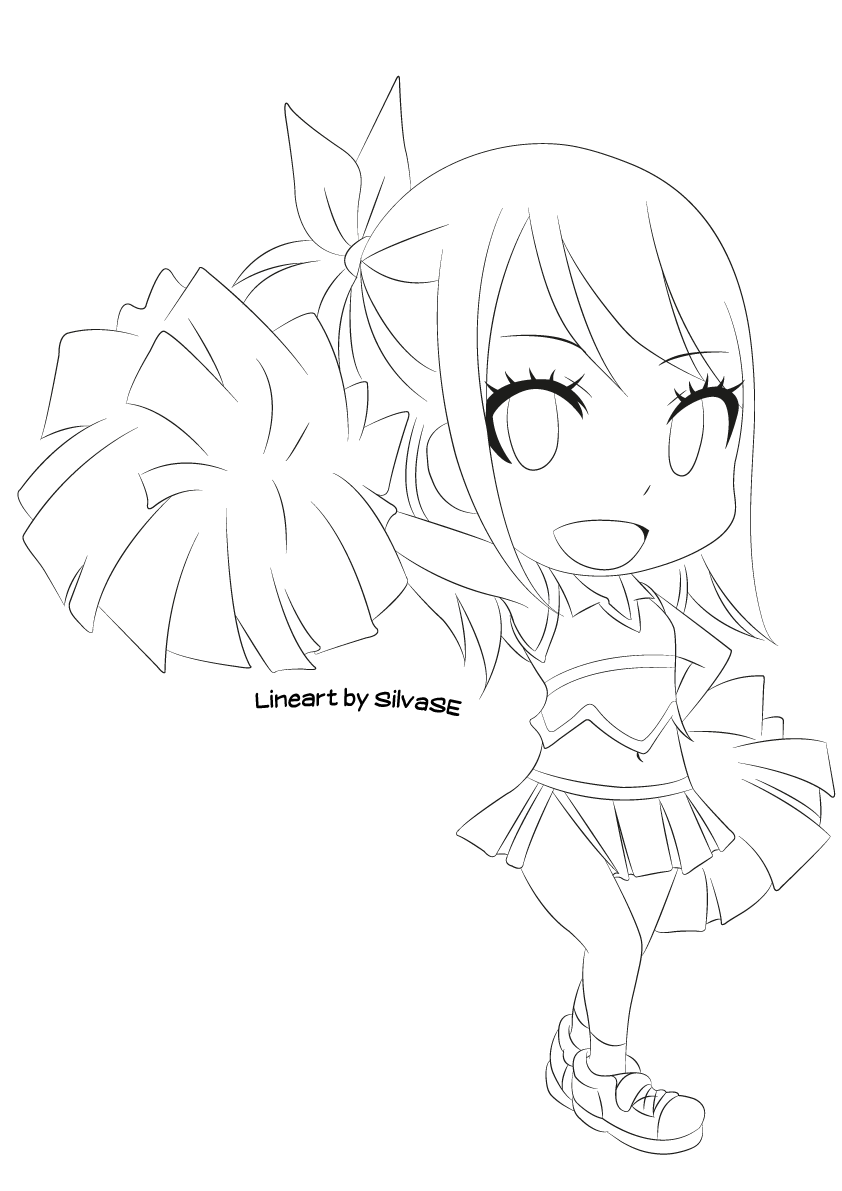 chibi lucy lineart by silvase lineart fairy tail