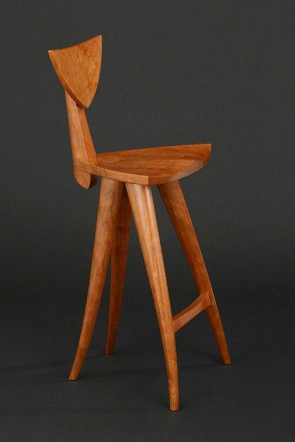 Curved sculpted wood Finback barstool hand carved by Seth Rolland custom furniture design