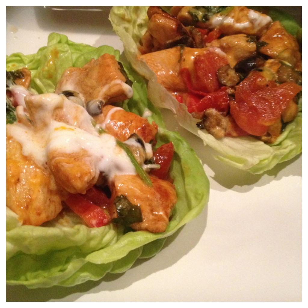 Boston lettuce wrap chicken fajitas with tomatoes, red ...