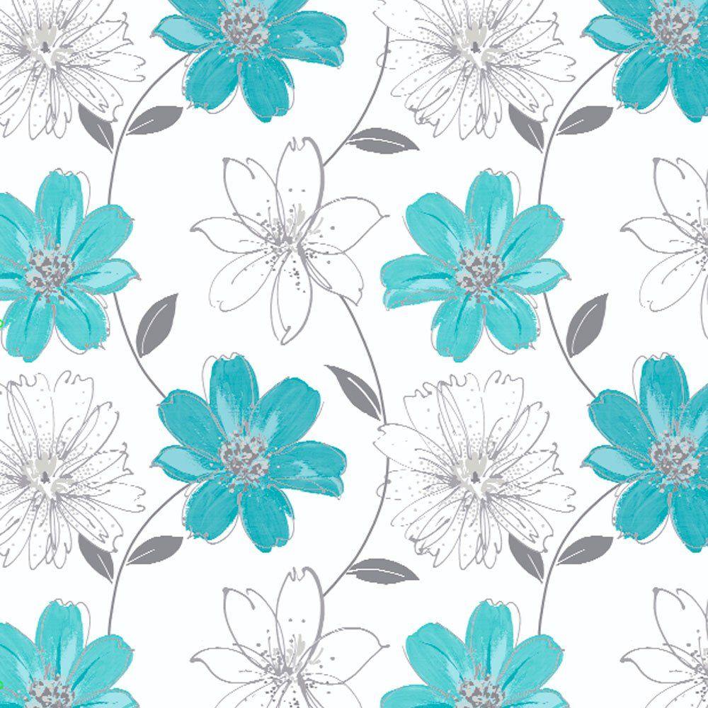 009 Floral Print | Aqua