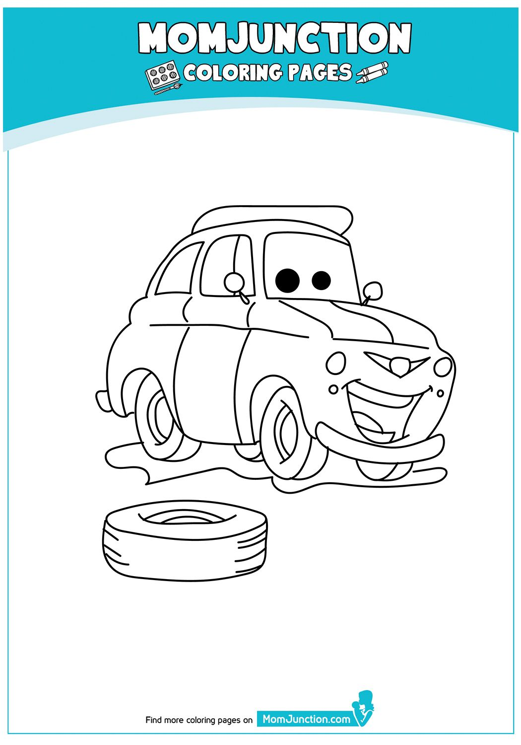 Momjunction Car Coloring Page Concept