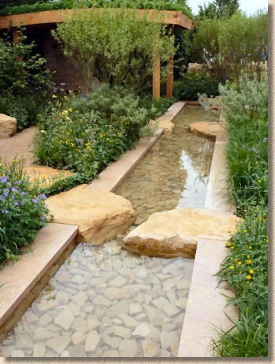 Small water feature in courtyard.