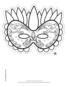 Festive Mardi Gras Mask to Color Printable Mask, free to