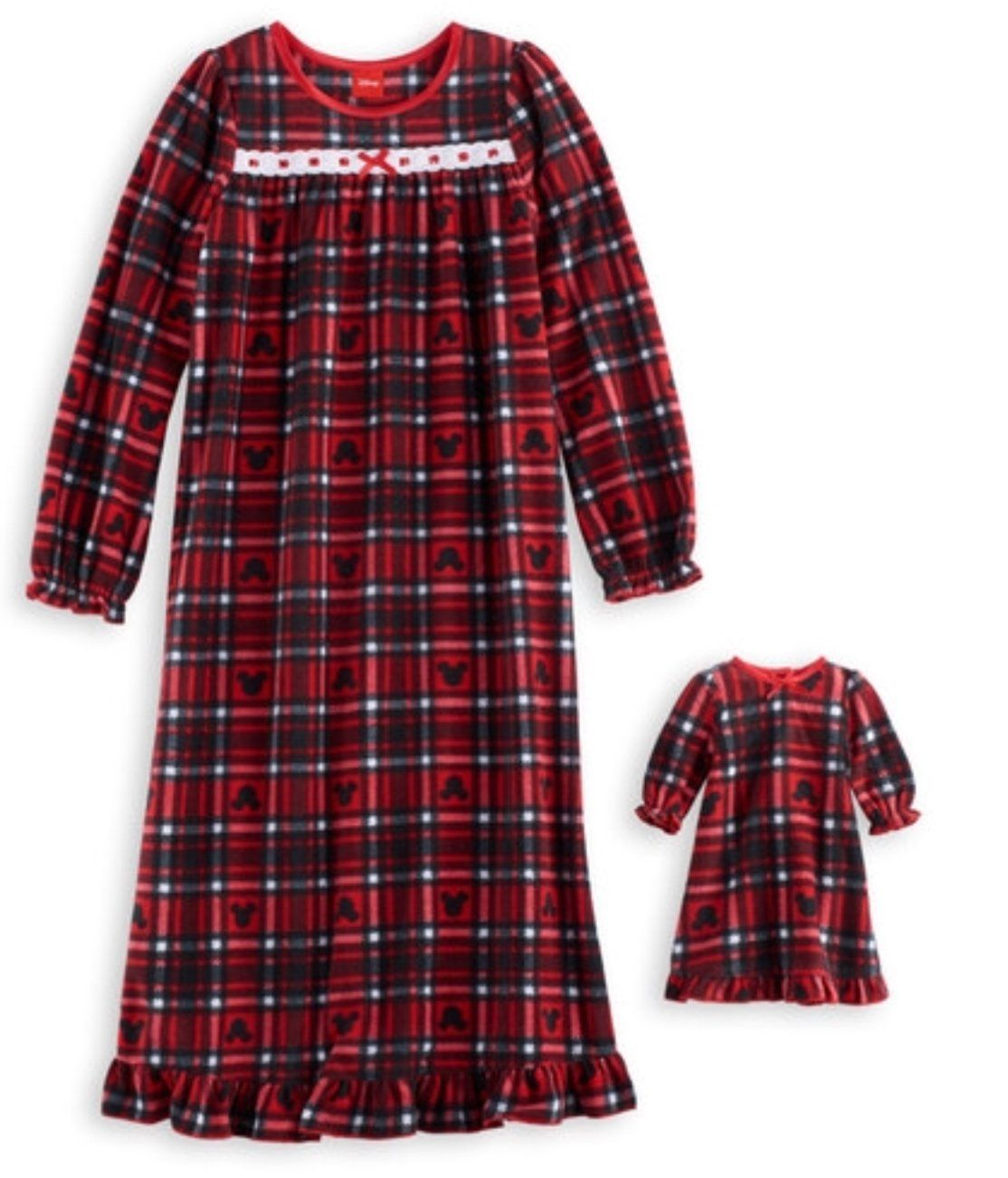 Disney Minnie Mouse Girls Gown /& Matching Doll Gown Set Red Plaid Size 2T  Xmas