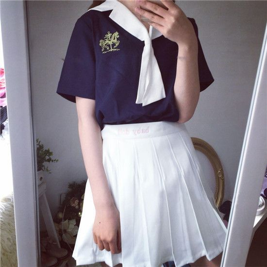 Japanese navy tie sweet T-shirt + pleated skirt two-piece outfit