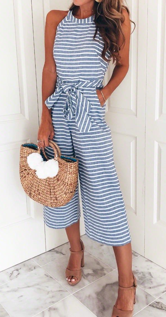 Photo of So fun & casual! Love this striped jumpsuit