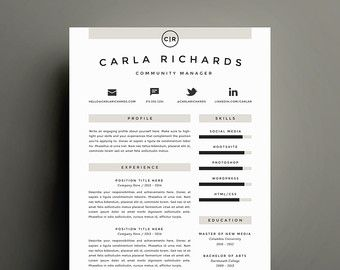Creative Resume Templates Creative Resume Template And Cover Letter Template For Word  Diy