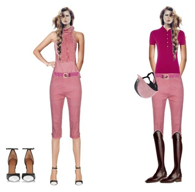 """""""Changing up Pink Gingham Cigarette pants"""" by stylemyride on Polyvore featuring Versus, Dsquared2, Gucci, Polo Ralph Lauren, TBA and Givenchy"""