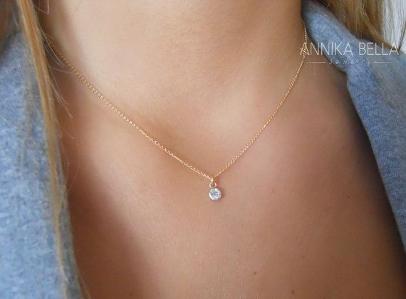 Swarovski crystal necklace dainty gold necklace layering swarovski crystal necklace dainty gold necklace layering necklace diamond solitaire necklace gift mozeypictures Image collections