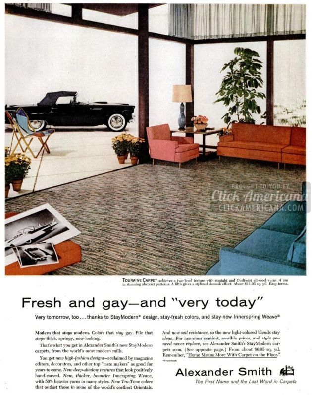 50 Mid Century Modern Carpet Styles From The 50s 60s Vintage Wall To Wall Flooring In All Its Glory Modern Carpets Design Carpet Decor Decor