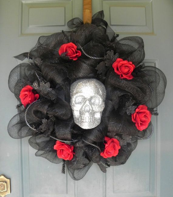 halloween wreath deco mesh with glitter skull and by redrobynlane 7995 - Halloween Deco