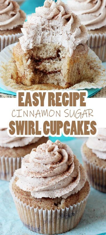 EASY CINNAMON SUGAR SWIRL CUPCAKES RECIPE These Sugar Swirl are a dream of mine come true! There is cinnamon in the cupcake batter and layers of cinnamon sugar in the cupcake. Then, they are topped with cinnamon and sprinkled with a little more cinnamon and sugar. I couldn't stay away from them!