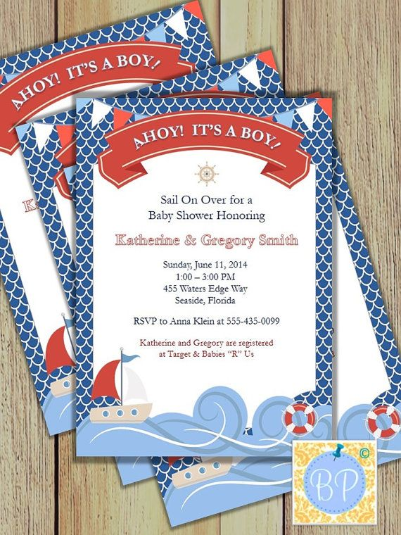 Ahoy Its a Boy Invitation Baby Shower Invitation by ...