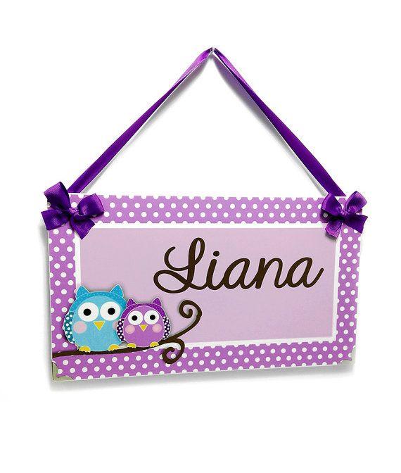 personalized owls bedroom decor kids door signs - girls nursery ...