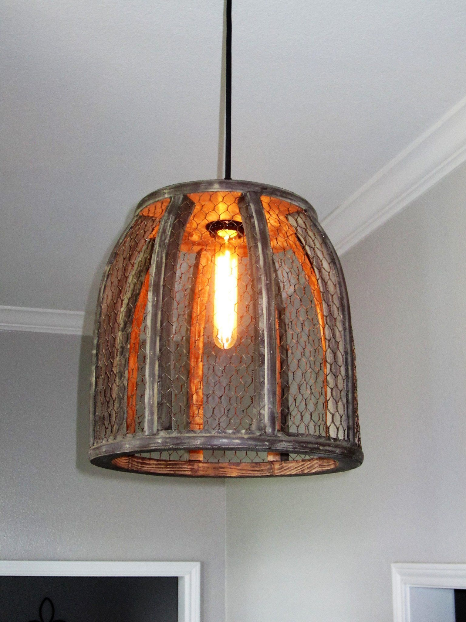Chicken Wire Farmhouse Large Pendant Light Farmhouse Dining Room