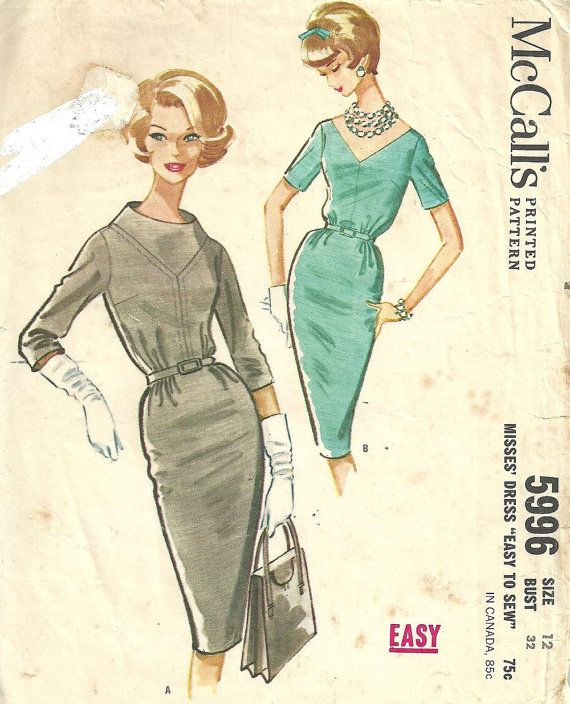 McCalls 5996 / Vintage 60s Sewing Pattern / Sheath Dress / Size 12 ...