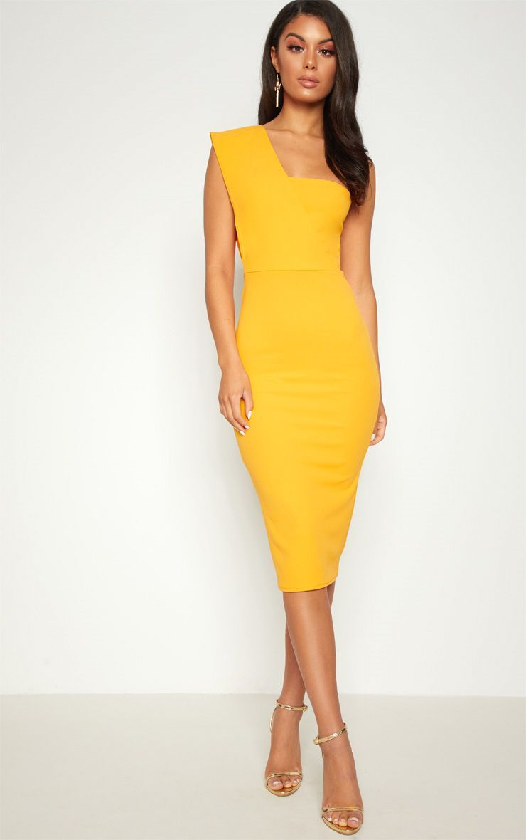 47efb11f144 Yellow One Shoulder Draped Midi Dress. Head online and shop this season s  range of dresses at PrettyLittleThing. Express delivery   student discount  ...