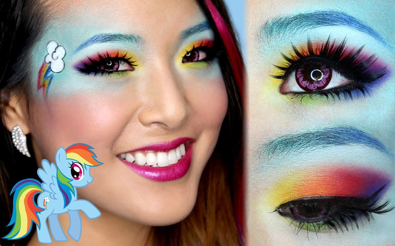 Totally tempted to try this for halloween when im walking the look jojo rainbow dash makeup tutorial also cute idea for hoodie costume baditri Gallery