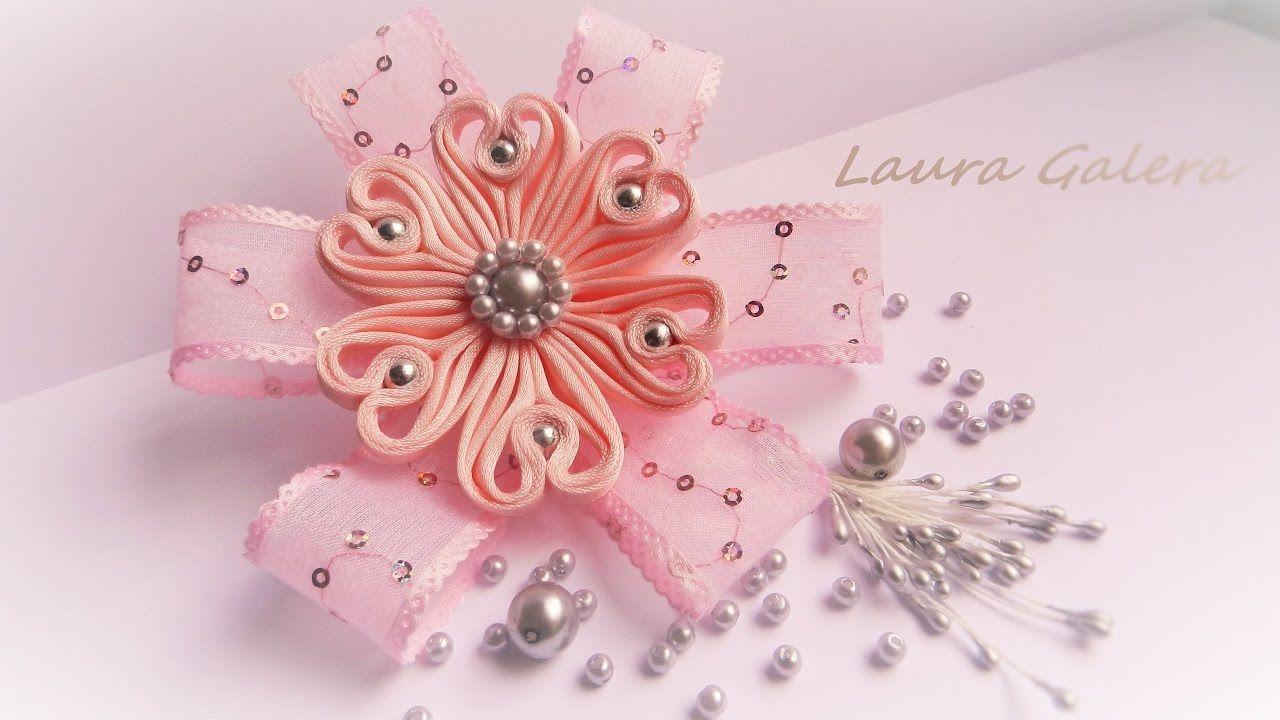 Ribbon Flower For Hair Clip Kanzashi Video Tutorial Pinterest
