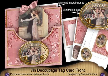 Dancing couple happy anniversary 7in tag card front mini kit on