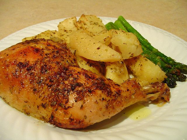 Roasted Chicken Leg Quarters And Potato Wedges The Greek Way A