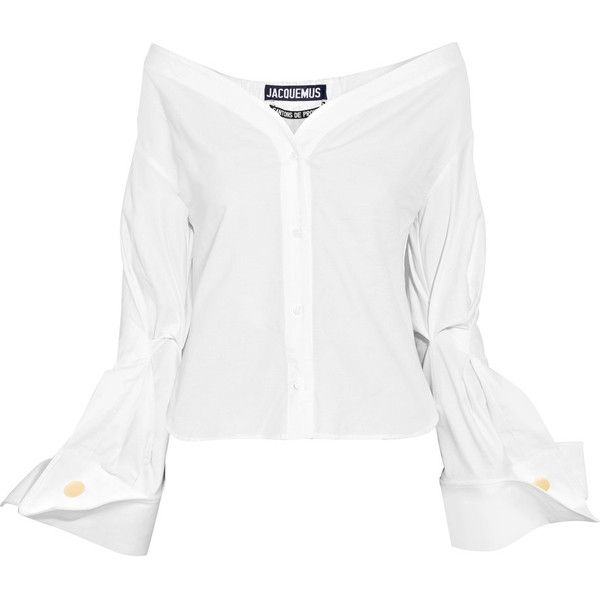 Jacquemus Off-the-shoulder cotton-piqué shirt (€355) ❤ liked on Polyvore featuring tops, blouses, jacquemus, momma, white long sleeve shirt, stitch shirt, folding shirts, long-sleeve shirt and white off the shoulder shirt