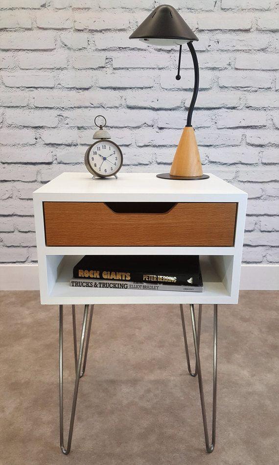 White Mid Century Modern Nightstand Part - 21: Mid-Century Modern, End Table, White Nightstand, Bed Side Table, Hairpin