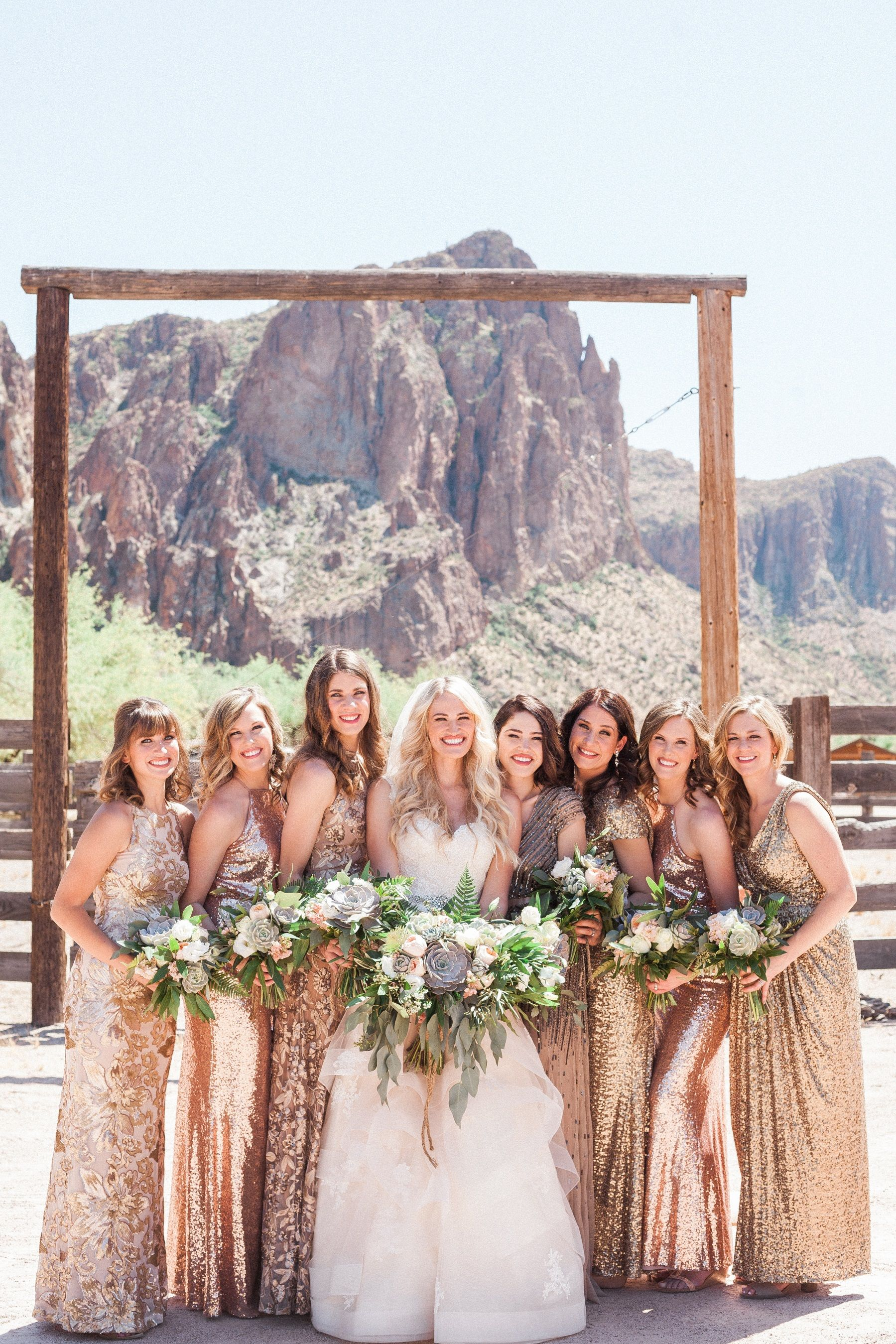 Mismatched rose gold bridesmaid dresses i had my bridesmaids rent mismatched rose gold bridesmaid dresses i had my bridesmaids rent long sequin blush gowns from ombrellifo Gallery