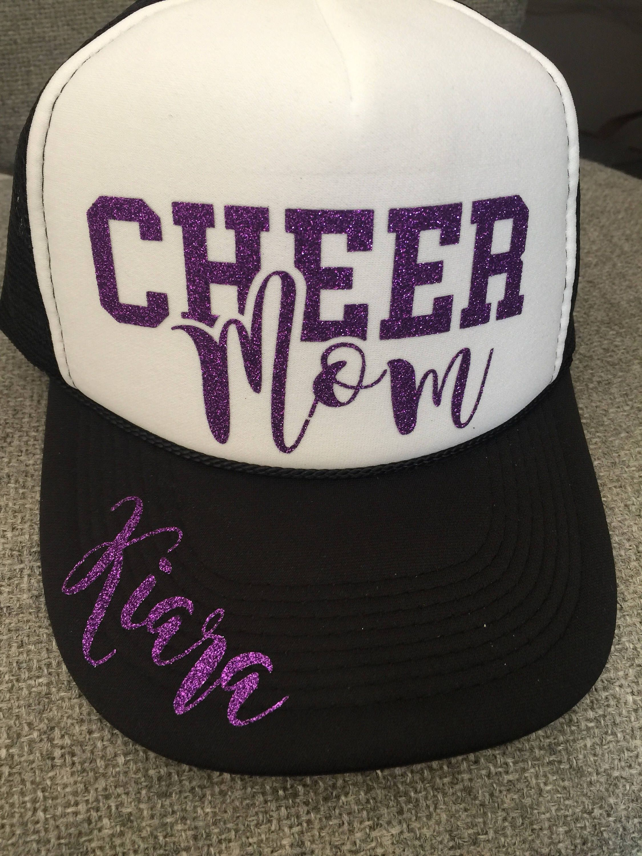 A personal favorite from my Etsy shop https://www.etsy.com/listing/516866408/cheer-mom-hats