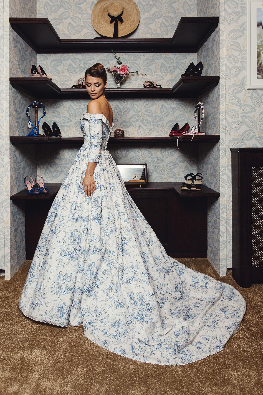 Lena Hoschek Bleu Toile Couture Gown Provence Collection Non Traditional Blue Wedding Dress