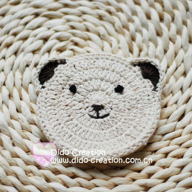 Handmade Crochet 100% Cotton Round Bear Coaster Doily   DIY & CRAFT ...