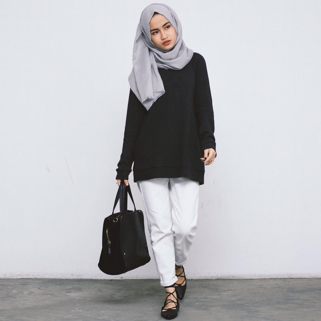 Pin By Intan Junior On Hijab In 2018 Pinterest Fashion Sepatu Bata Man Black 8316006 White Trousers Top Grey And Lace