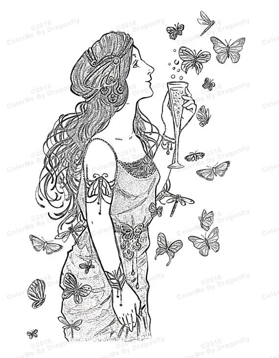 Girl Butterfly Art, Fantasy Art, Printable Lady And The Butterfly s ...