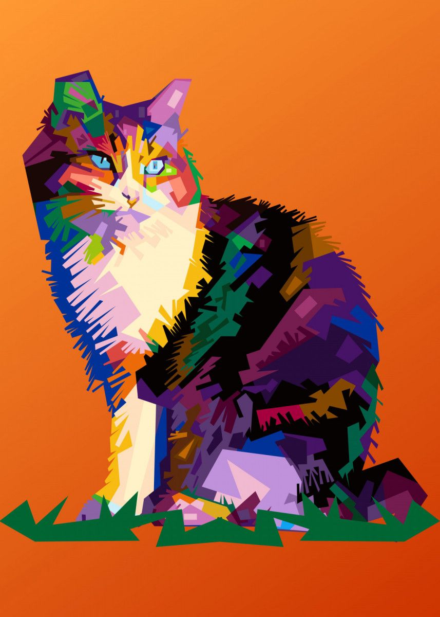 The look of a Cat Pop Art Poster Print | metal posters - Displate | Displate thumbnail