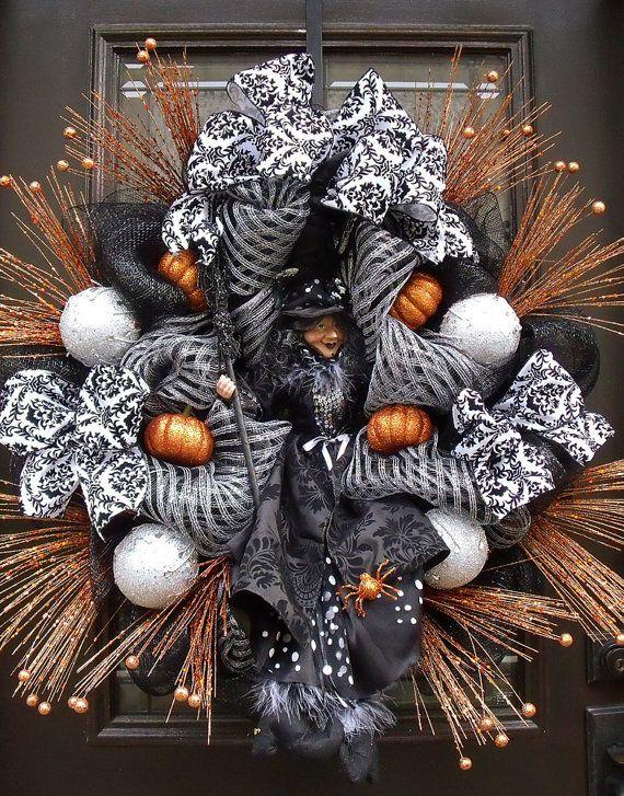 Elegant Halloween Wreaths, Witch Wreath, Door Decor, Fall Door - classy halloween decor