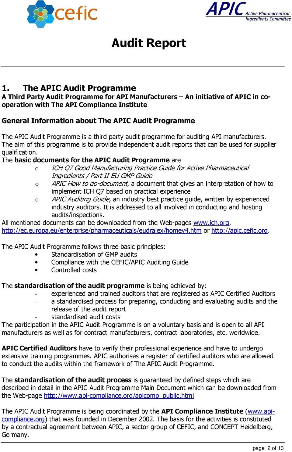 Audit Report In The Framework Of The Apic Audit Programme Within