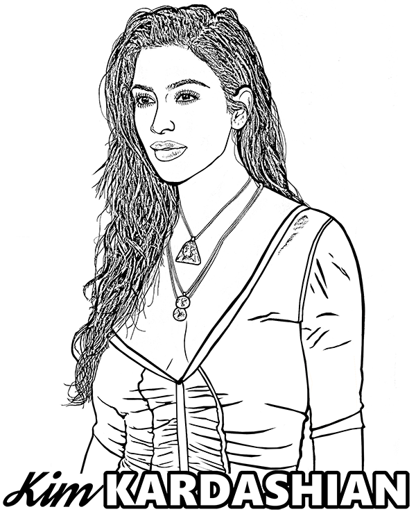 Kim Kardashian on a free coloring page to print or download on ...
