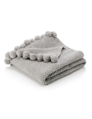 PomPom Throw WISHLIST Things To Buy Pinterest Home Knitted Beauteous White Pom Pom Throw Blanket