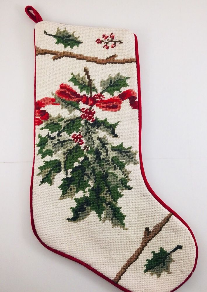 Vintage Needlepoint Christmas Stockings.Vintage Needlepoint Beautiful Victorian Holly Christmas
