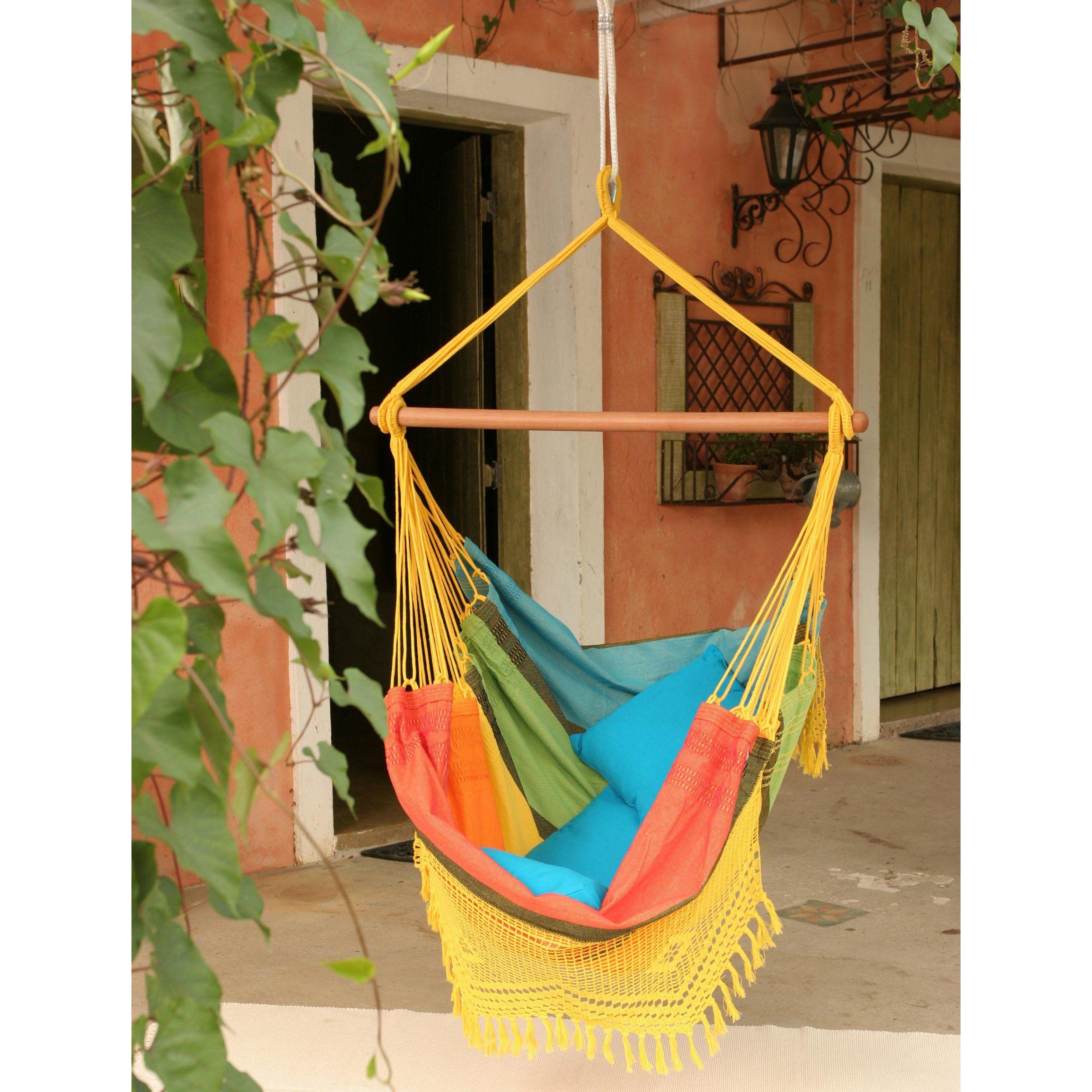 Brazilian cotton fabric hammock chair with fringe hammock chairs