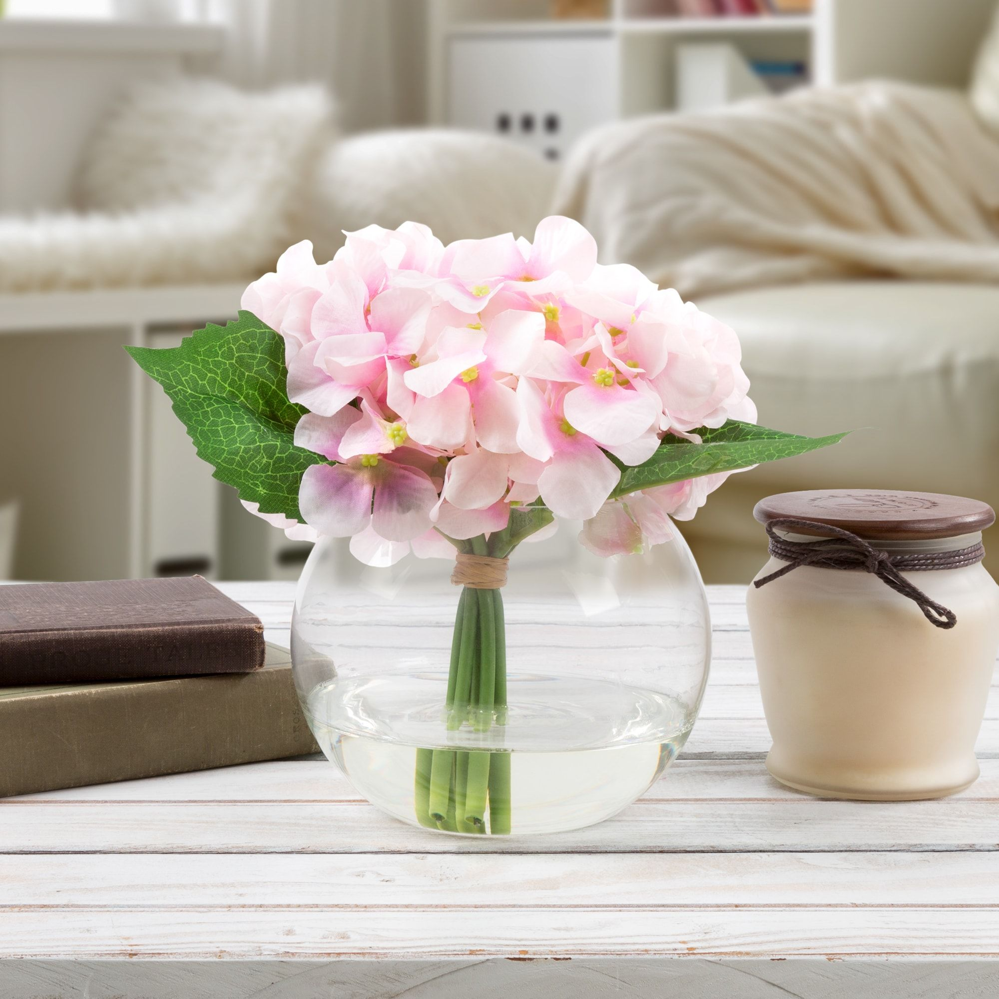 Hydrangea Artificial Silk Floral Arrangement With Vase And Faux