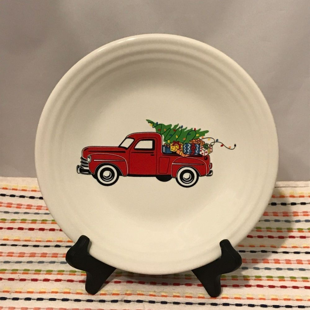 Fiestaware Farm Truck Lunch Plate Fiesta Christmas Red Truck White Luncheon NWT #Fiestaware : fiesta dinnerware christmas tree collection - pezcame.com