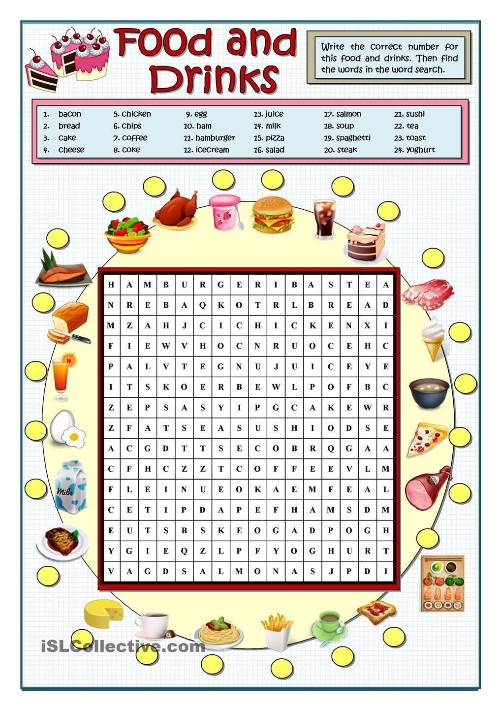 FOOD AND DRINKS WORDSEARCH | food | Worksheets, Teaching ...