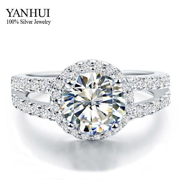 YANHUI 100% 925 Sterling Zilveren Harten en Pijlen 3 Carat CZ Diamant Bruiloft ringen Voor Vrouwen MAAT 4 5 6 7 8 9 10 11 YR408
