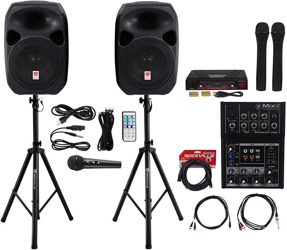 2 rockville 12 dual powered pa speakersmackie mixer3